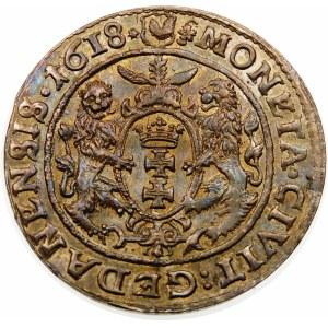 Zygmunt III Waza, Ort 1618, Gdańsk – listek klonu – rzadka