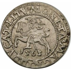 Zygmunt II August, Półgrosz 1563, Wilno – Mała Pogoń, Herb Topór – DVX LI/LITV