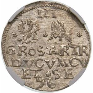 Kurlandia, Fryderyk Kettler, Trojak 1596, Mitawa – data u dołu – rzadka