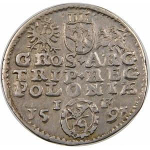 Zygmunt III Waza, Trojak 1591, Olkusz – ze znakiem