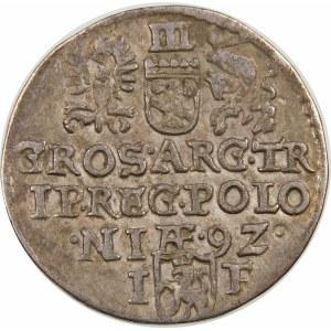 Zygmunt III Waza, Trojak 1592, Olkusz – mała głowa – NIÆ 9Z