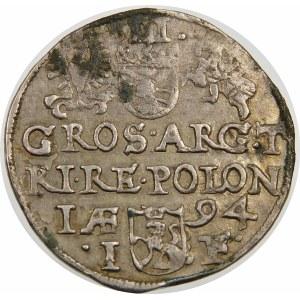 Zygmunt III Waza, Trojak 1594, Olkusz – ze znakiem w otoku