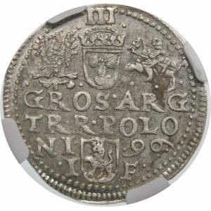 Zygmunt III Waza, Trojak 1596, Olkusz – leżąca 6 w dacie – nieopisana odmiana