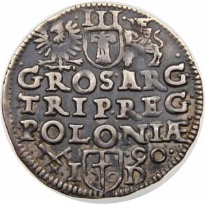 Zygmunt III Waza, Trojak 1590, Poznań – korona z lilią rozetami, I - D