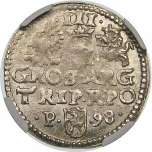 Zygmunt III Waza, Trojak 1598, Poznań – P z lewej
