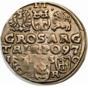 Zygmunt III Waza, Trojak 1597, Bydgoszcz – kokarda, napis w dwóch wierszach