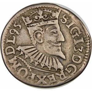 Zygmunt III Waza, Trojak 1595, Wschowa – lilia – data na awersie – odmienne popiersie
