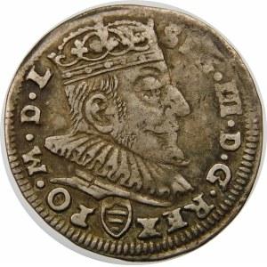 Zygmunt III Waza, Trojak 1589, Wilno – herb Korczak pod popiersiem