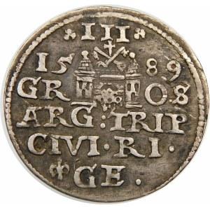 Zygmunt III Waza, Trojak 1589, Ryga – lilijka z jednej strony GE – ozdobniki
