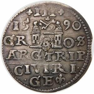 Zygmunt III Waza, Trojak 1590, Ryga – większe popiersie