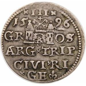Zygmunt III Waza, Trojak 1596, Ryga – LI – krzyżyki i kropki
