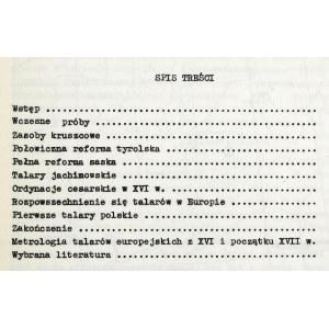 Mikołajczyk Andrzej, Reforma talarowa w Europie