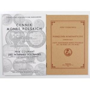 Tyszkiewicz Józef, Podręcznik numizmatyczny zawierający ceny amatorskie monet polskich od 1506 do 1795 roku; Berezowski Konrad, Cennik Monet Polskich – zestaw cenników monet (szt. 2)