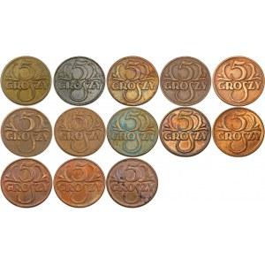 ZESTAW 5 groszy - 13 sztuk w tym 5 groszy 1934