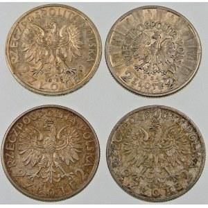 ZESTAW 4 monet 2 złote Głowa Kobiety, Piłsudski