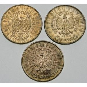 Zestaw 5 złotych Piłsudski - 3 sztuki