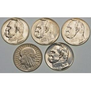 Zestaw 5 złotych Piłsudski, Głowa Kobiety - 5 sztuk