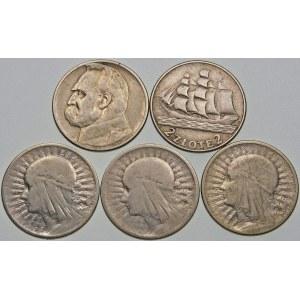Zestaw 5 monet Głowa Kobiety, Żaglowiec, Piłsudski