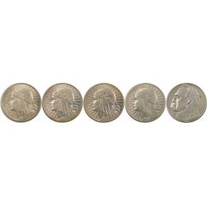ZESTAW 10 złotych Głowa Kobiety, Piłsudski - 5 sztuk