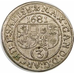 Austria, Salzburg-arcybiskupstwo, Max Gandolf von Kuenburg, 3 krajcary 1681