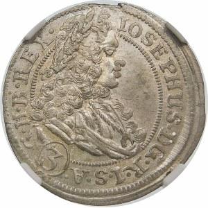 Austria, Józef I (1705-1711), 3 krajcary 1707 FN, Wrocław