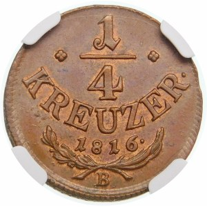 Austria, Franciszek II (1792–1835), 1/4 krajcara 1816 B, Kremnica