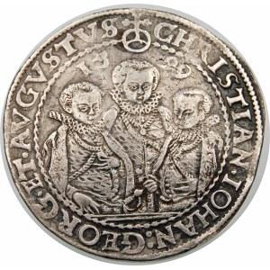 Niemcy, Saksonia - linia albertyńska (1547–1918), Krystian II, Jan Jerzy I i August (1591–1611), talar 1599 HB, Drezno