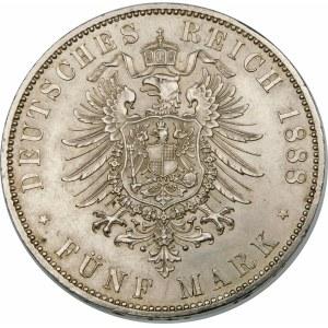 Niemcy, Prusy, Fryderyk III 1888, 5 marek 1888 A, Berlin - piękna