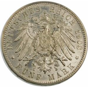 Niemcy, Wirtembergia, Wilhelm II (1891–1918), 5 marek 1908 F, Stuttgart