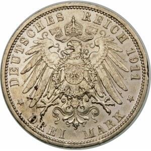 Niemcy, Saksonia, Wilhelm II (1888–1918), 3 marki 1911 A, Berlin