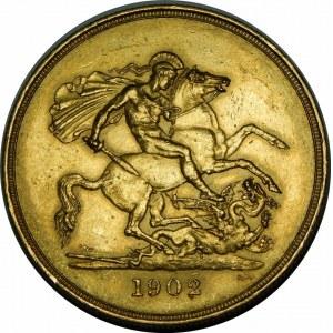Wielka Brytania, Edward VII (1901-1910), 5 funtów 1902, Londyn