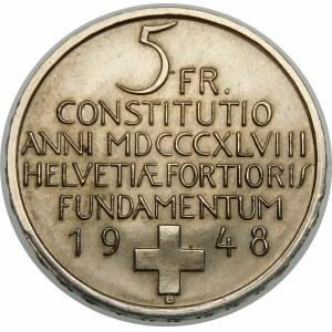 Szwajcaria, 5 franków 1948, Berno