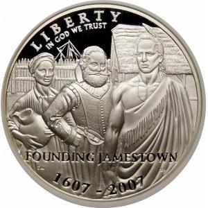 Stany Zjednoczone Ameryki (USA), dolar 2007, Filadelfia – 400 lat Jamestown – stempel lustrzany