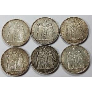 Francja, 10 franków 1965 i 1966 – zestaw (szt. 6)