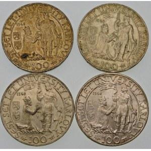 Czechosłowacja 100 koron, 1948 – zestaw (szt. 4)