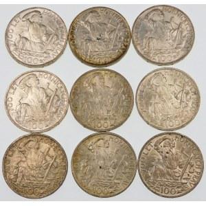 Czechosłowacja 100 koron, 1949 – zestaw (szt. 9)