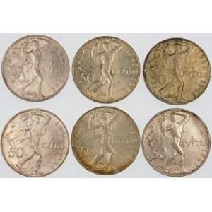 Czechosłowacja 50 koron, 1948 – zestaw (szt. 6)