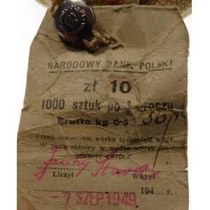 1 grosz 1949 worek menniczy 1000 sztuk