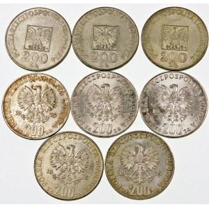 Zestaw 8 srebrnych monet PRL