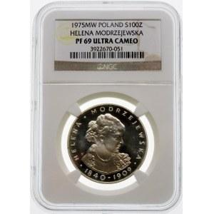 100 złotych 1975 Helena Modrzejewska - srebro