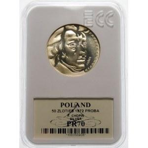 Próba 50 złotych 1972 Chopin - srebro