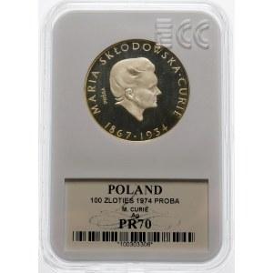 Próba 100 złotych 1974 Maria Skłodowska Curie - srebro