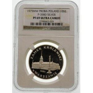 Próba 100 złotych 1975 Zamek Królewski - srebro