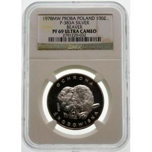 Próba 100 złotych 1978 Bóbr - srebro