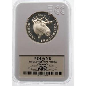 Próba 100 złotych 1978 Głowa Łosia - srebro