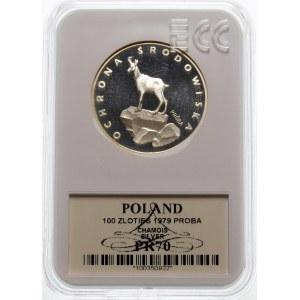 Próba 100 złotych 1979 Kozica na skale - srebro