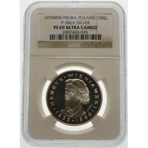 Próba 100 złotych 1979 Wieniawski - srebro