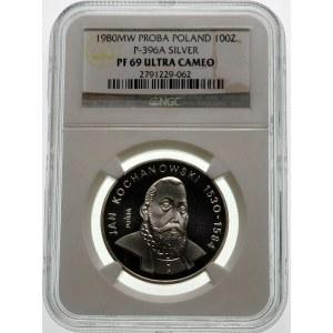 Próba 100 złotych 1980 Kochanowski - srebro
