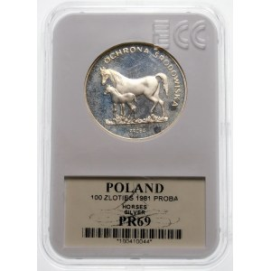 Próba 100 złotych 1981 Konie - srebro