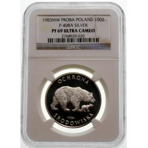 Próba 100 złotych 1983 Niedźwiedzie - srebro